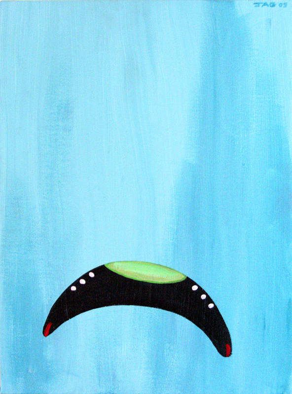 Ufo Art Print featuring the painting Blue Raspberry Ufo by John Ashton Golden