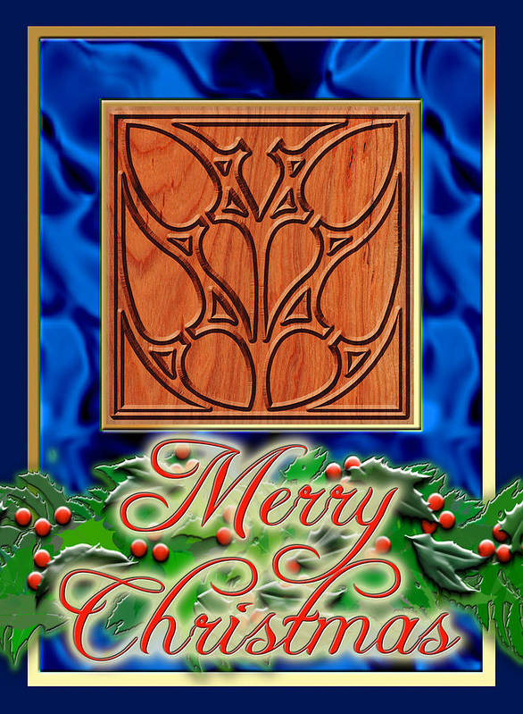 Christmas Art Print featuring the digital art Blue Satin Merry Christmas by Melissa A Benson