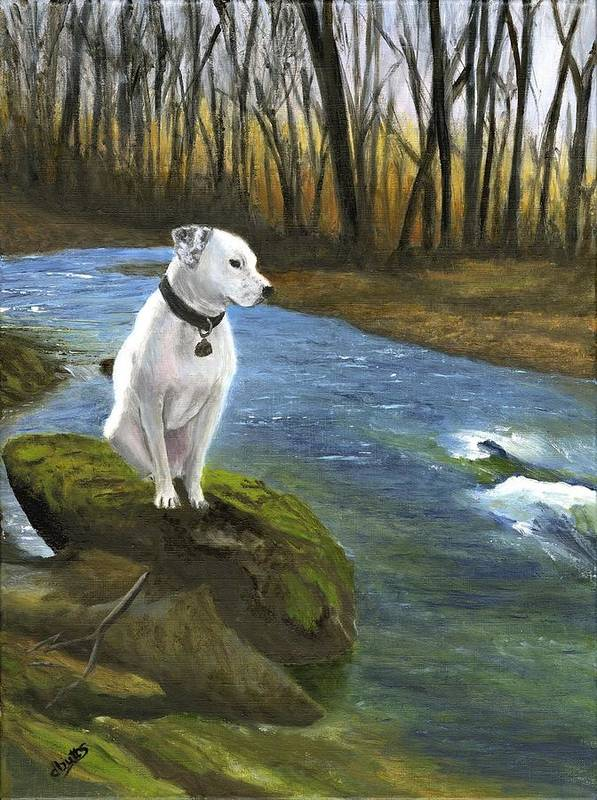Dog Art Print featuring the painting Bo At The Patapsco by Deborah Butts
