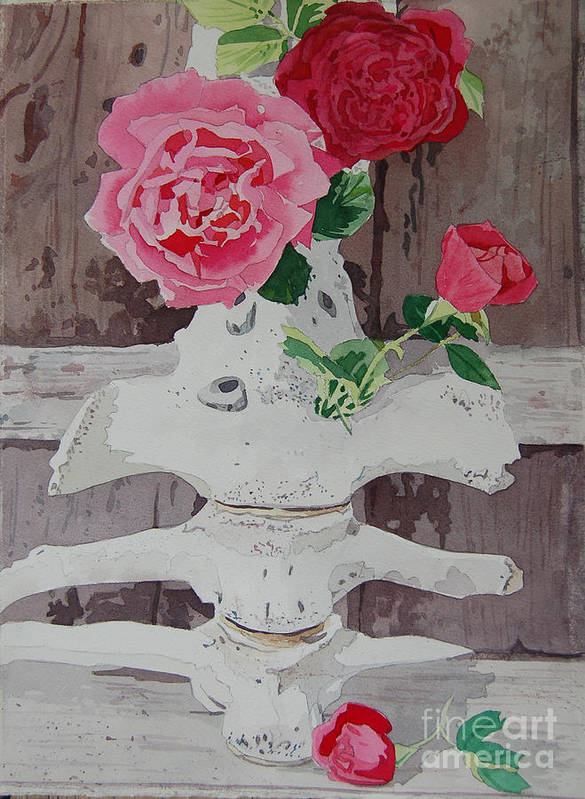 Nature Art Print featuring the painting Bones And Roses by Terry Holliday