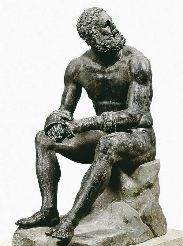 Vertical Art Print featuring the photograph Boxer Seatted. 1st C. Hellenistic Art by Everett