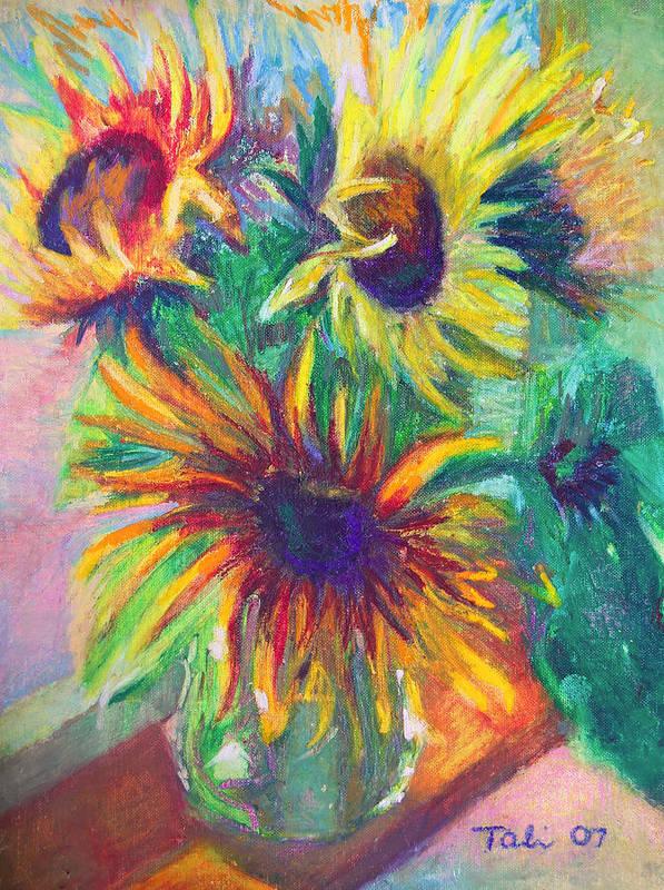 Sunflower Art Print featuring the painting Brandy's Sunflowers - Still Life On Windowsill by Talya Johnson