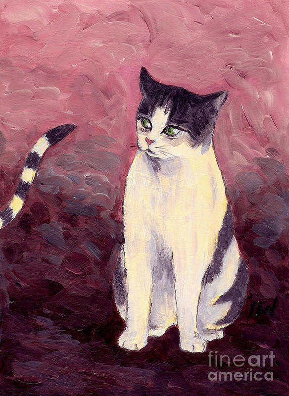 Cat Love Art Print featuring the painting Breaking Up The Old Anticipating A New One by Jingfen Hwu