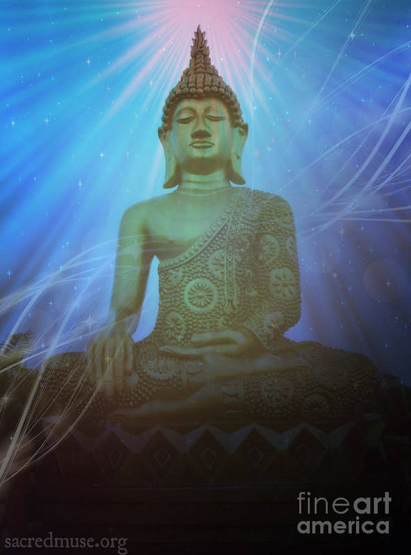 Buddha Art Print featuring the mixed media Buddha Cosmic Mind by Sacred Muse