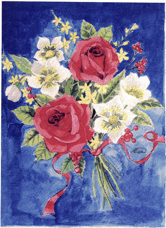 Bunch Of Flowers Print featuring the painting Bunch Of Flowers by Alban Dizdari