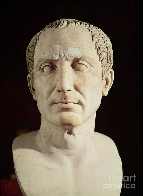 Portrait Art Print featuring the sculpture Bust Of Julius Caesar by Anonymous