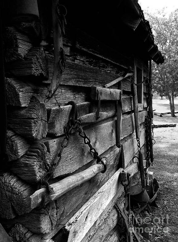 Log Cabins Art Print featuring the photograph Cabin Wall II by Julie Dant