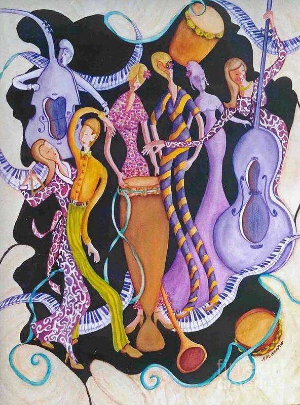 Dancers Art Print featuring the painting Caribbean Calypso by Arleen Barton