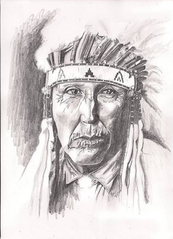 Native American Art Print featuring the painting Cheyenne by Beverly Marshall