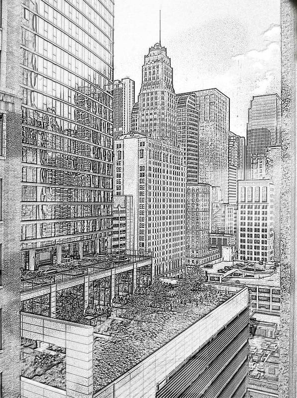 Sketch Art Print featuring the photograph Chicago by Charlotte Daniels