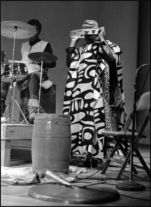 Sun Ra Arkestra At Freeborn Hall Art Print featuring the photograph Clifford Jarvis And Sonny 1968 by Lee Santa