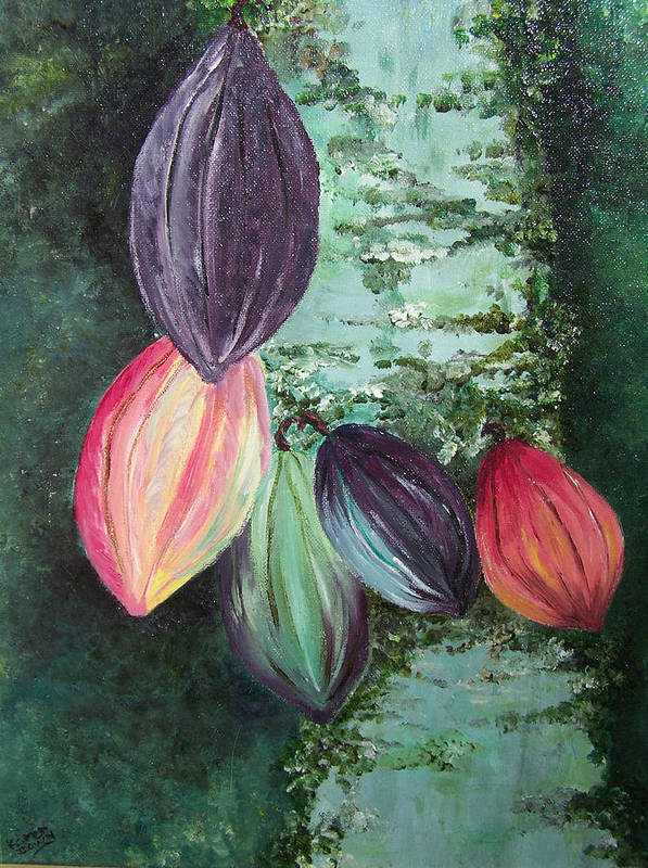 Cocoa On The Tree Art Print featuring the painting Cocoa Pods by Karin Dawn Kelshall- Best