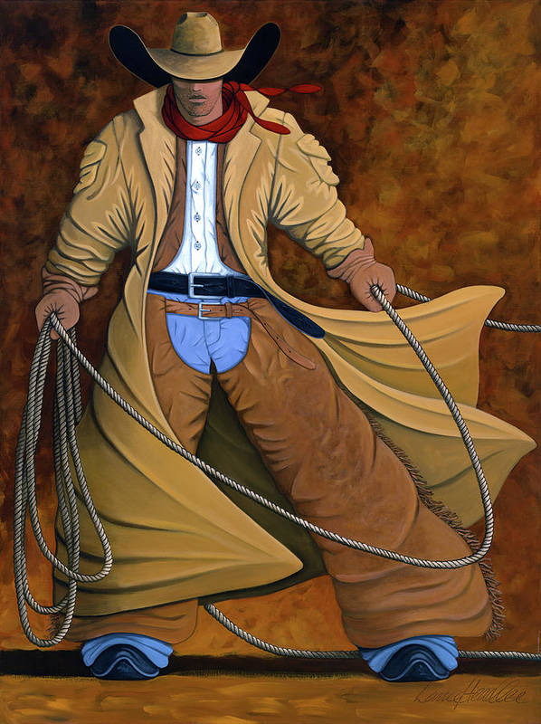 Contemporary Western Art Print featuring the painting Cody by Lance Headlee