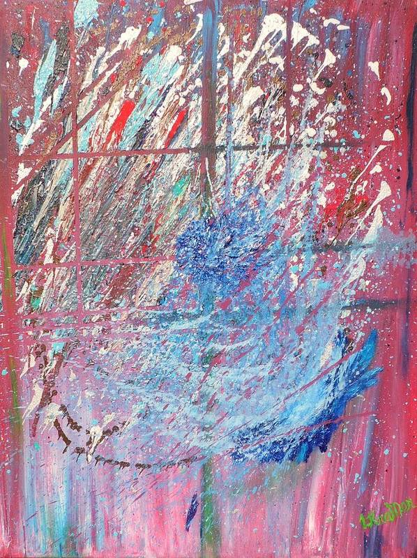 Abstract Print featuring the painting Cosmos by Lisa Kramer