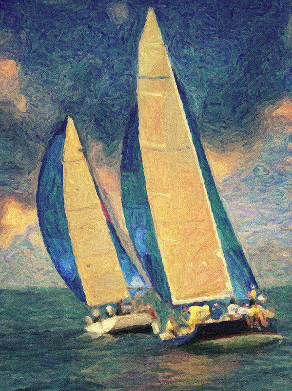 Oil Painting Print featuring the painting Costa Smeralda by Taylan Apukovska