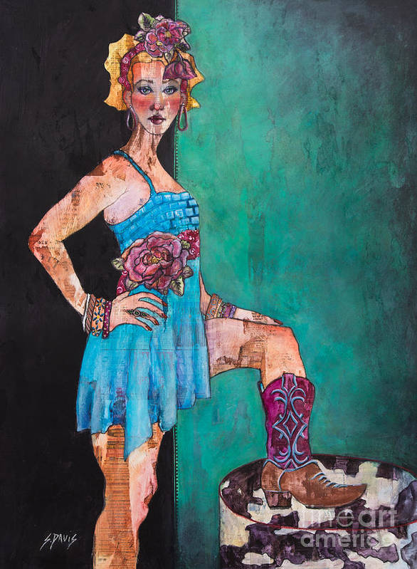 Cowgirl Art Print featuring the painting Cowgirl by Sherry Davis