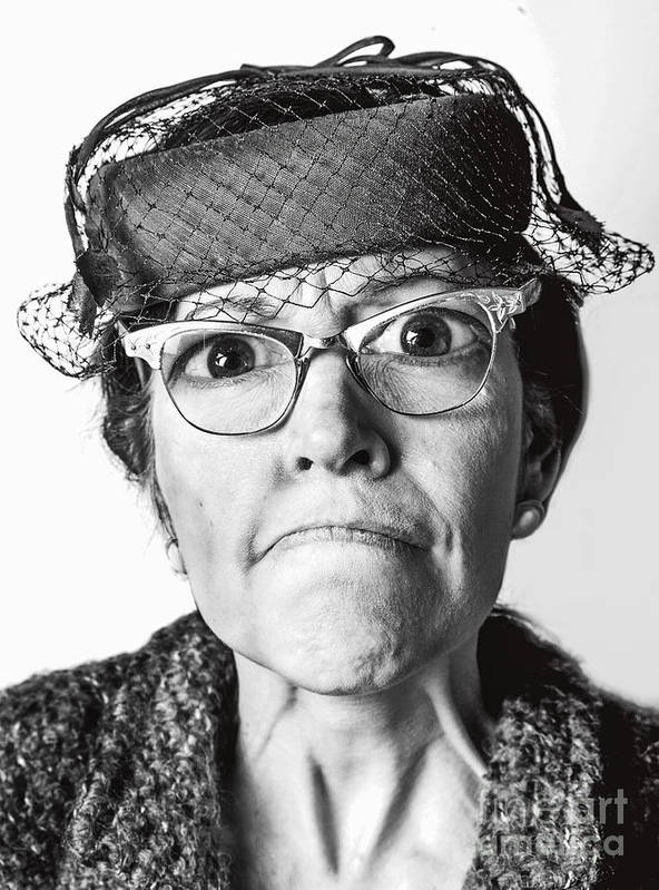 Old Lady Art Print featuring the photograph Cranky Old Lady by Diane Diederich