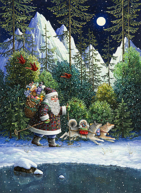 Santa Claus Art Print featuring the painting Cross-country Santa by Lynn Bywaters