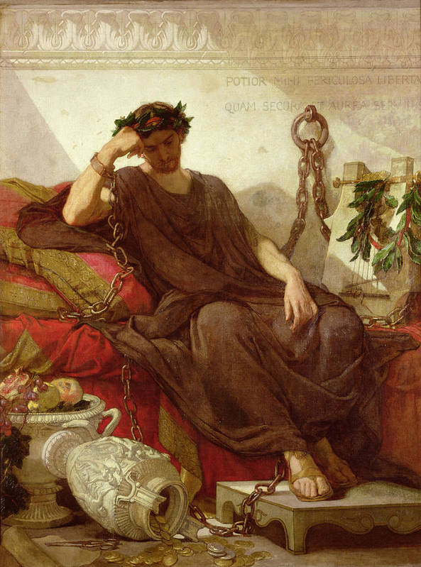 Chained Art Print featuring the painting Damocles by Thomas Couture
