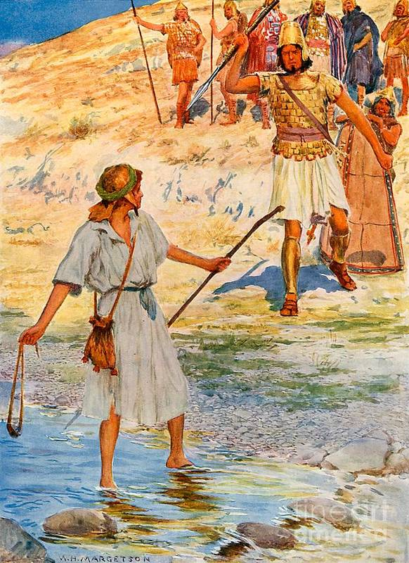 Bible; David; Goliath Art Print featuring the drawing David And Goliath by William Henry Margetson