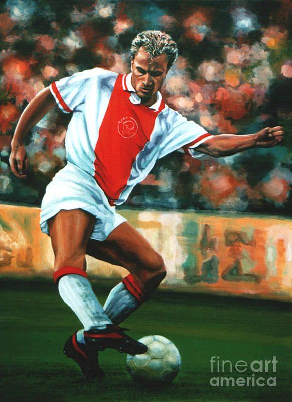 Dennis Bergkamp Print featuring the painting Dennis Bergkamp 2 by Paul Meijering