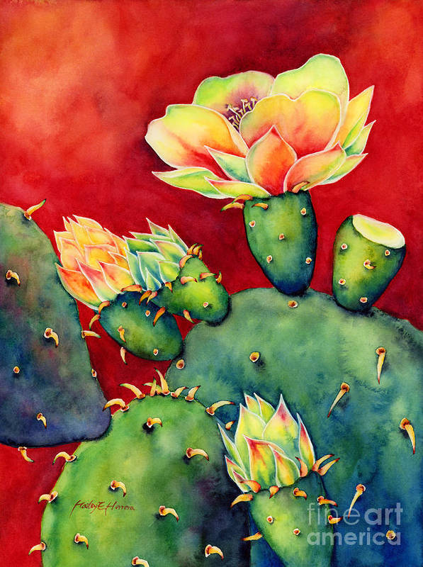 Cactus Art Print featuring the painting Desert Bloom by Hailey E Herrera