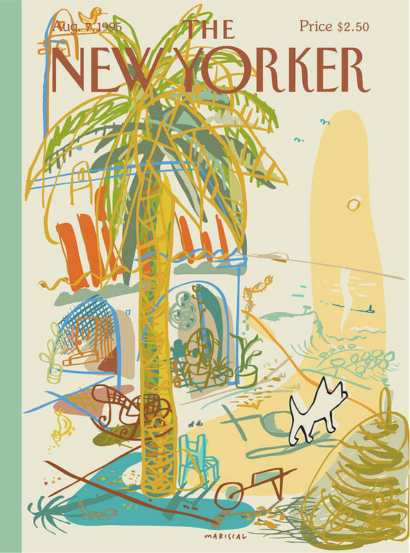 Summer Art Print featuring the painting Dog Walking Under A Palm Tree by Javier Mariscal