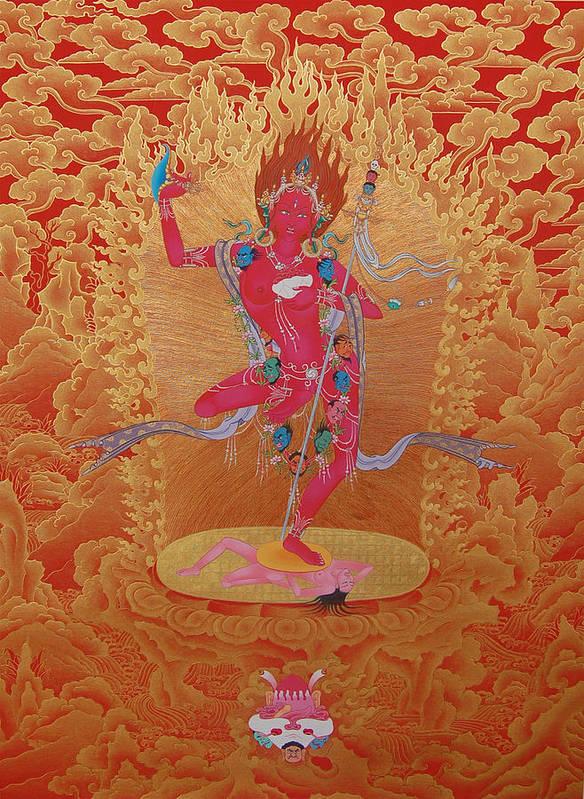 Yogini Art Print featuring the painting Dorje Pagmo by Binod Art School