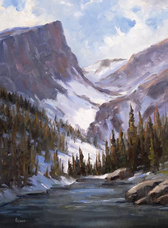 Dream Lake Art Print featuring the painting Dream Lake by Bonnie Bowne