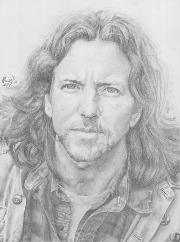 Eddie Vedder Art Print featuring the drawing Eddie Vedder by Olivia Schiermeyer