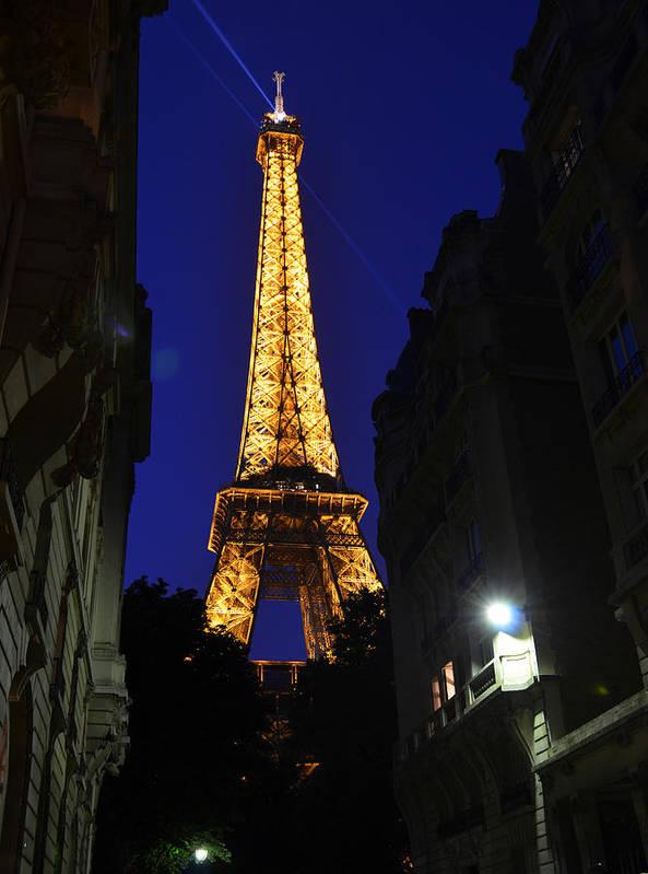 Eiffel Tower Paris France Photography Art Print featuring the photograph Eiffel Tower Paris France At Night by Patricia Awapara