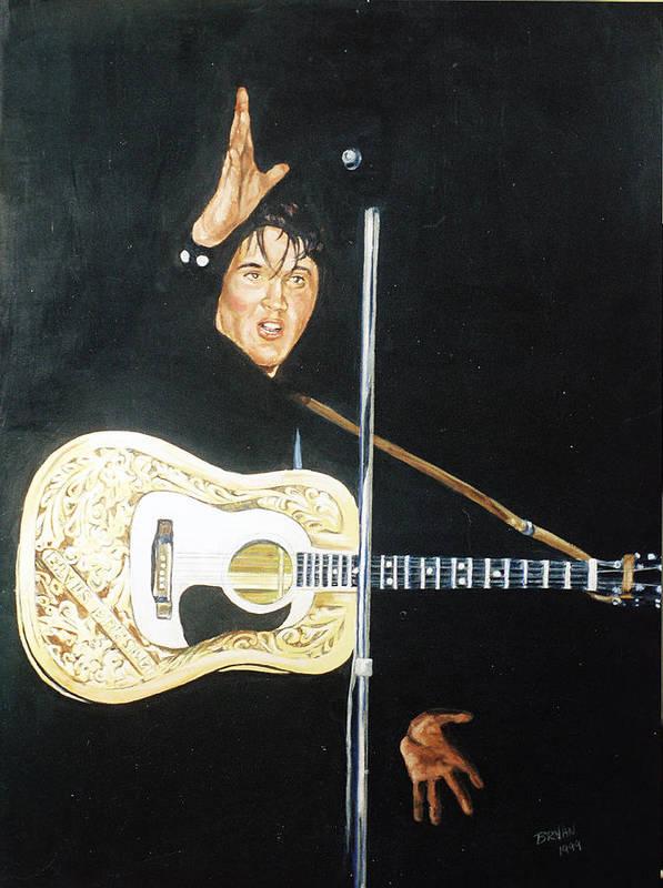 Elvis Presley Art Print featuring the painting Elvis 1956 by Bryan Bustard