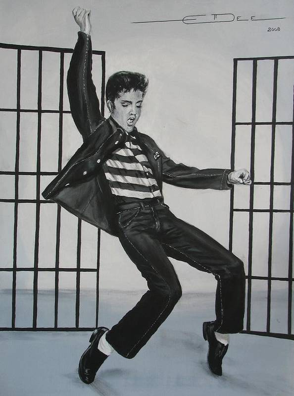 Elvis Presley Art Print featuring the painting Elvis Presley Jailhouse Rock by Eric Dee