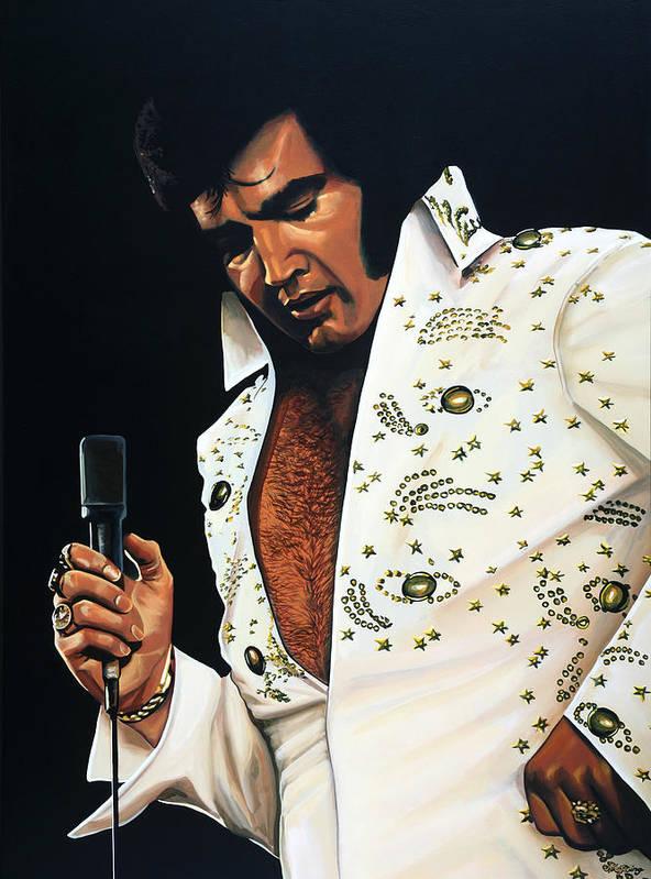 Elvis Art Print featuring the painting Elvis Presley Painting by Paul Meijering