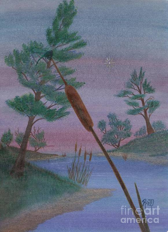 Watercolor Art Print featuring the painting Evening Wish by Robert Meszaros