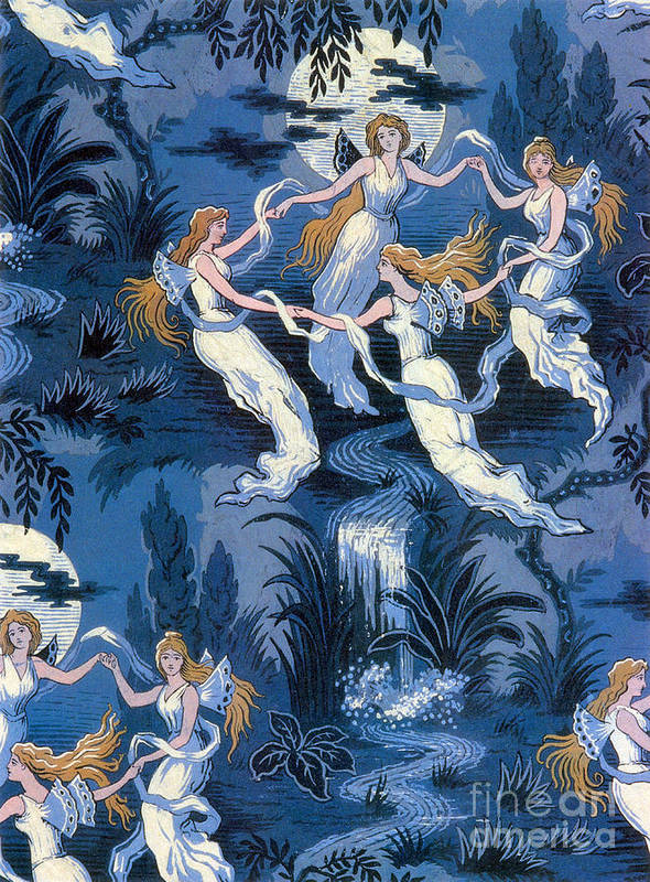 History Art Print featuring the photograph Fairies In The Moonlight French Textile by Photo Researchers