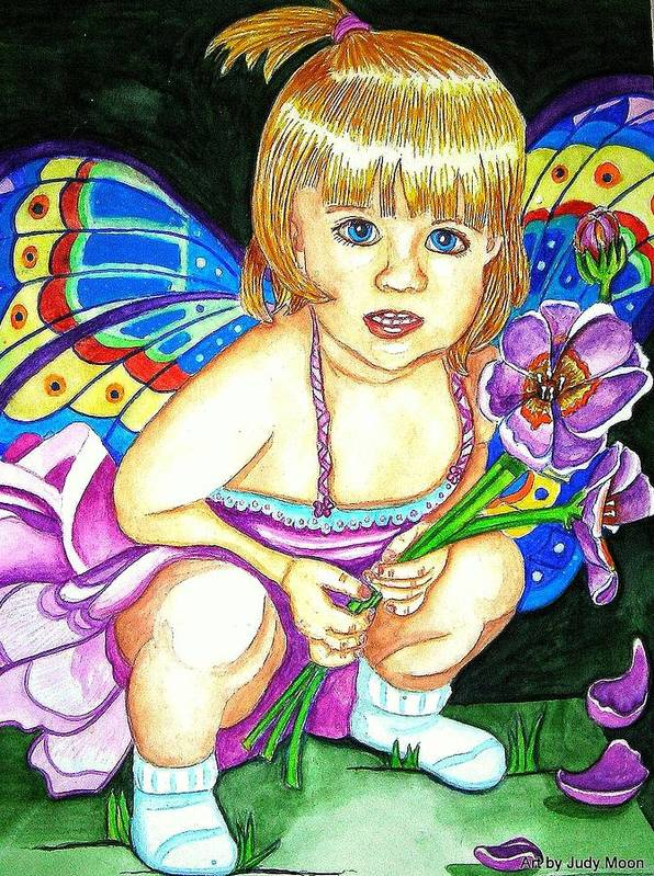 Fairy Art Print featuring the painting Fairy Child by Judy Moon