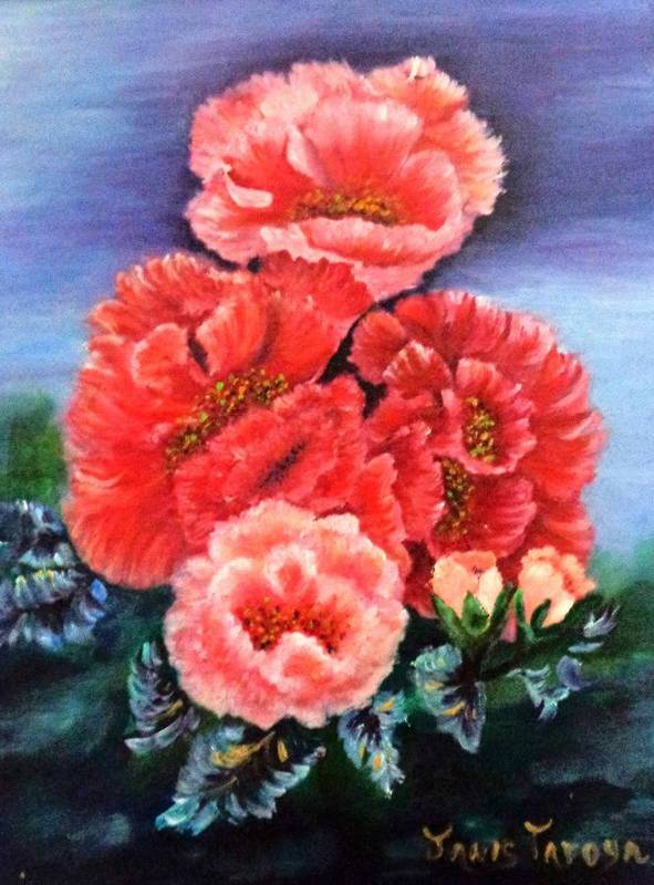 Flowers Art Print featuring the painting Fantasy Flowers by Janis Tafoya