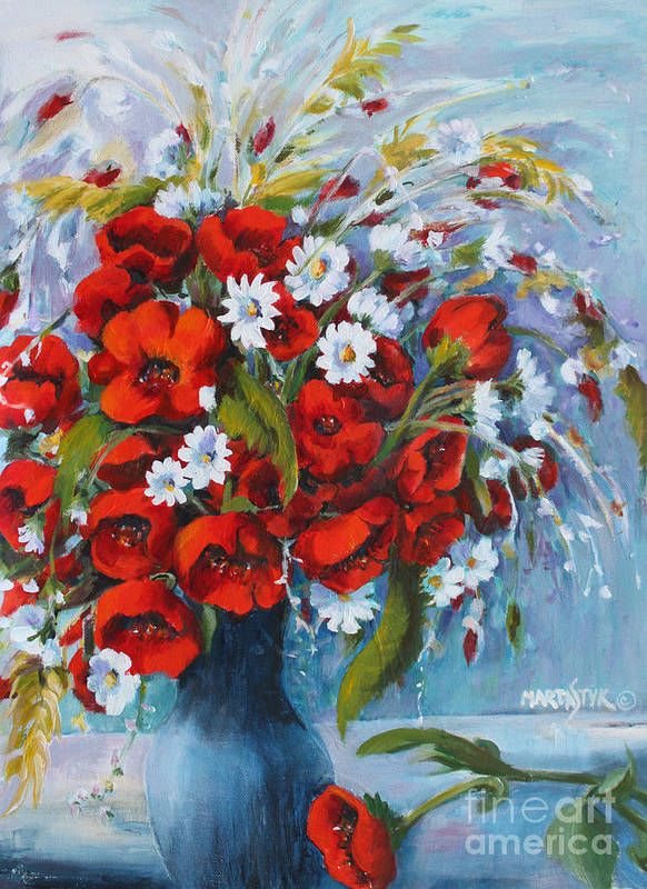Flowers Art Print featuring the painting Field Bouquet 2 by Marta Styk