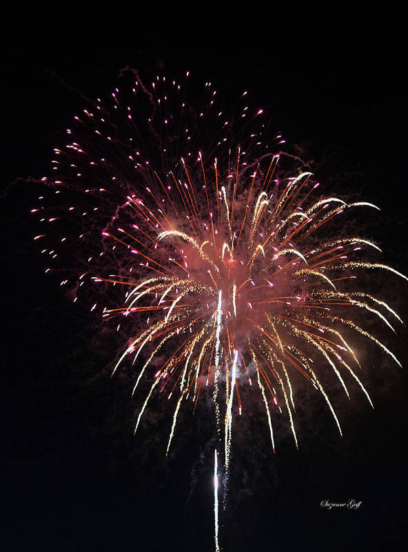 July Art Print featuring the photograph Fireworks Series Xiv by Suzanne Gaff