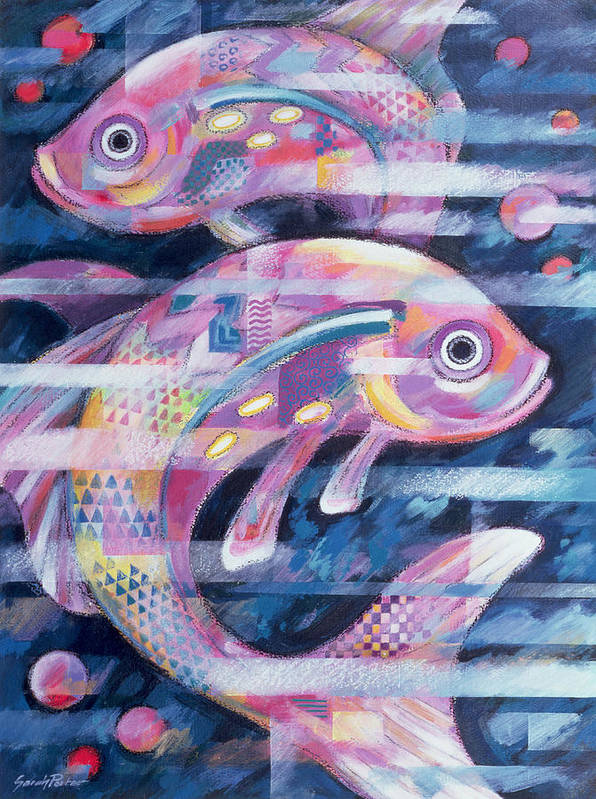 Fish Art Print featuring the painting Fishstream by Sarah Porter