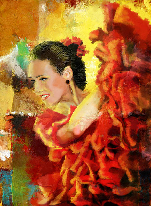 Jazz Art Print featuring the painting Flamenco Dancer 027 by Catf