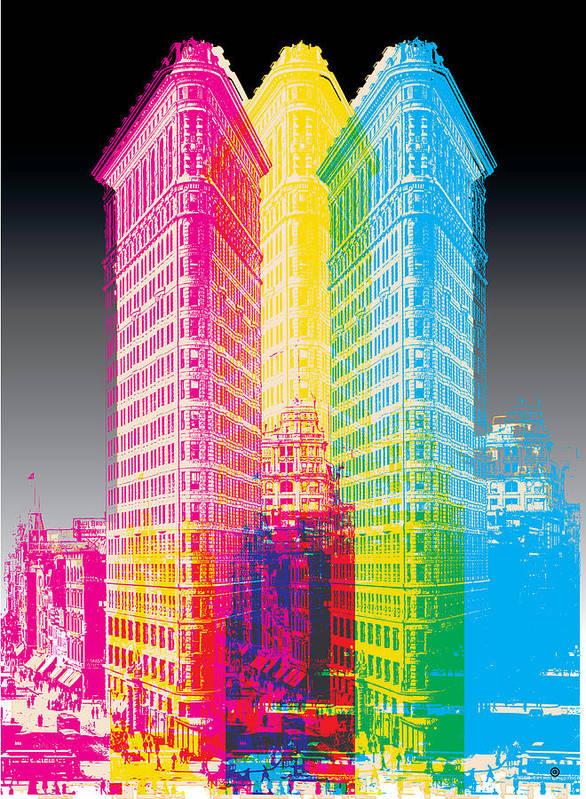 Graphic Print featuring the digital art Flat Iron Pop Art by Gary Grayson