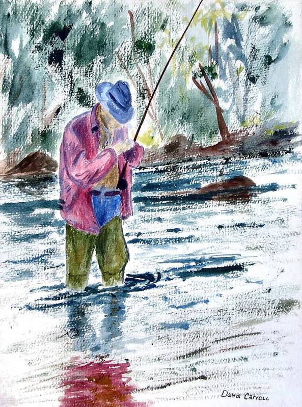 Outdoors Art Print featuring the painting Fly Fishing The South Platte River by Dana Carroll