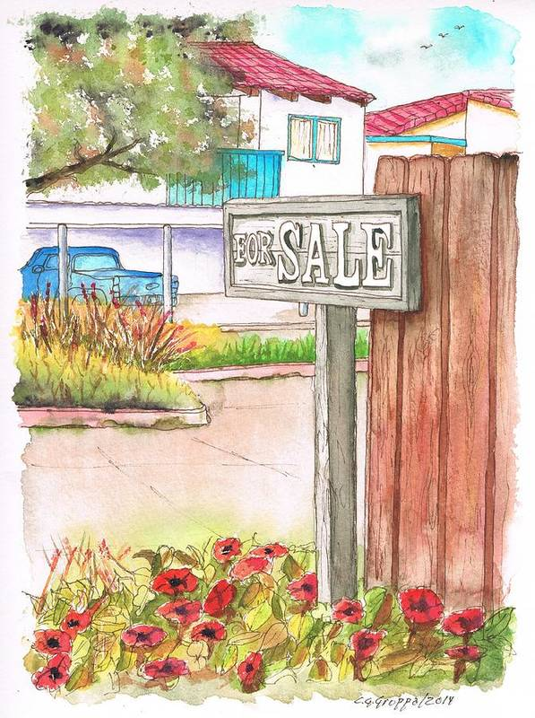 For Sale Sign Art Print featuring the painting For Sale Sign In Goleta Beach, California by Carlos G Groppa