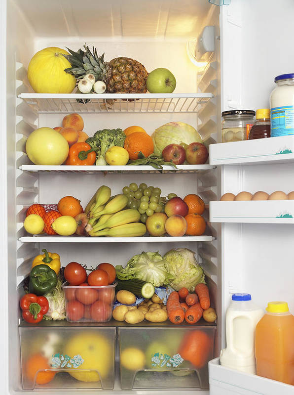 Fridge Filled With Fruit And Vegetables Art Print By Jonathan Kitchen