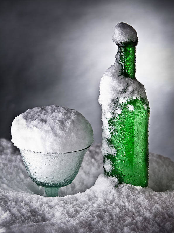 Alcohol Print featuring the photograph Frozen Bottle Ice Cold Drink by Dirk Ercken