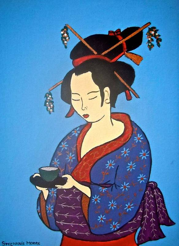 Geisha Art Print featuring the painting Geisha With Cup by Stephanie Moore