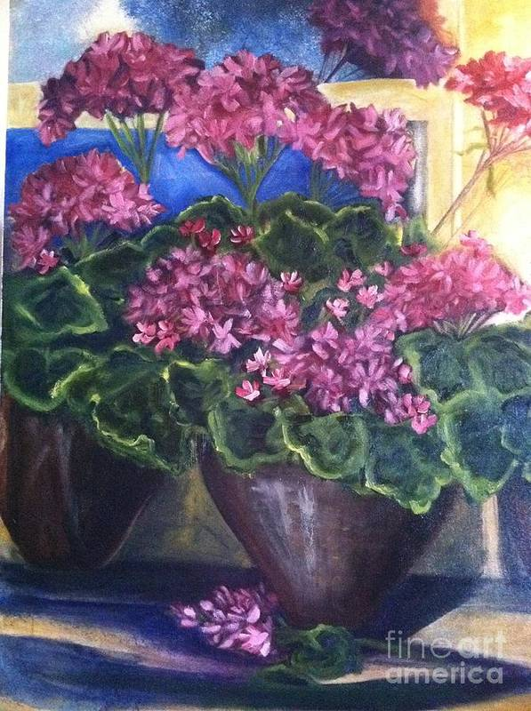 Orchards Art Print featuring the painting Geraniums Blooming by Sherry Harradence