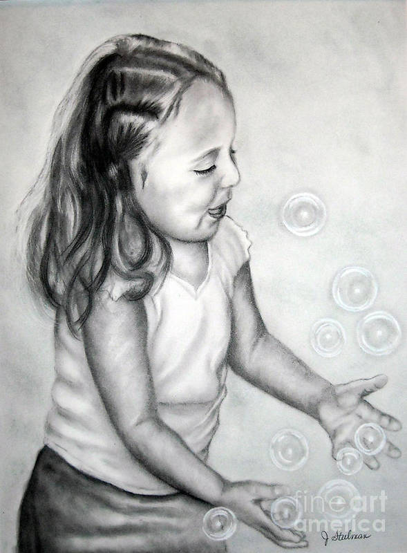 Charcoal Art Print featuring the painting Girl Blowing Bubbles II by Jane Steelman